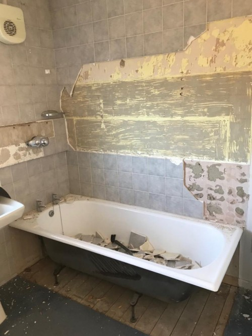 Bathroom before re-design and refurbishment for mobility